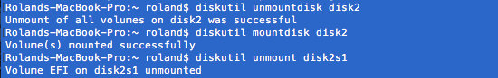 Mount and unmount disks using diskutil in macOS