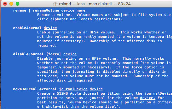 The diskutil manual in a Terminal window in macOS on the Apple Mac