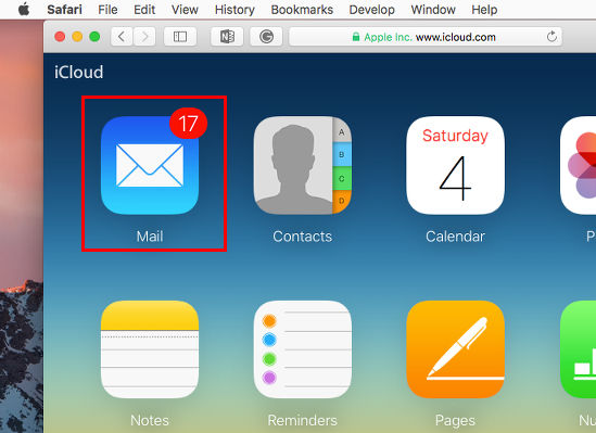 Open the Mail app at the iCloud website