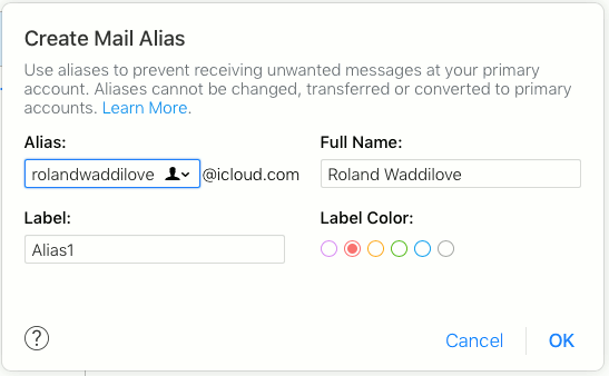 Create an email alias with iCloud Mail and sort mail with
