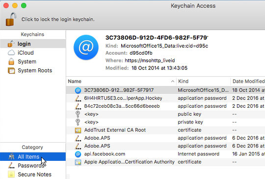 View all login items in Keychain Access on the Apple Mac
