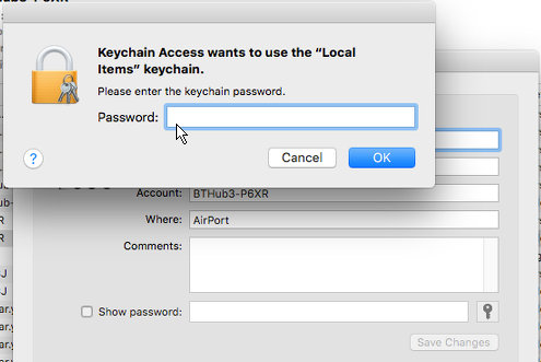 Enter an administrator password to access system items in macOS