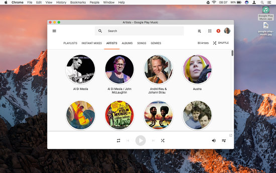 Google Play Music desktop app for the Apple Mac