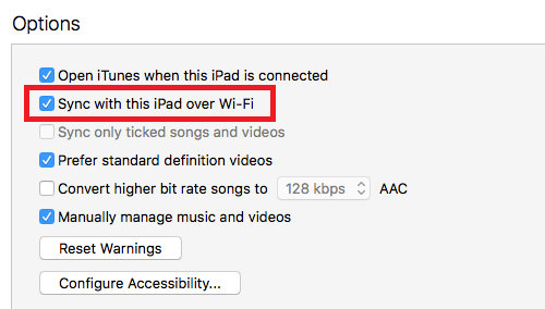 Set up Wi-Fi syncing with iPads and iPhones in iTunes on the Apple Mac