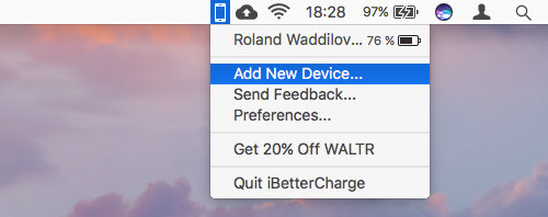 iBetterCharge menu bar app on the Apple Mac shows the battery level on iPhones and iPads