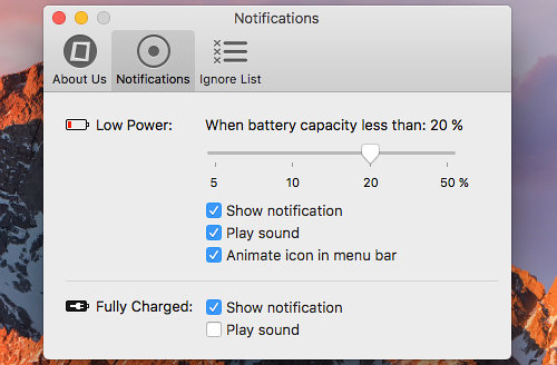 Configure iBetterCharge app on the Mac to give warnings when the iPhone or iPad battery is too low
