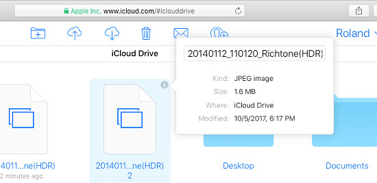Get information on files on iCloud Drive at the iCloud website