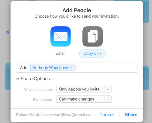File sharing options on the Apple iCloud website