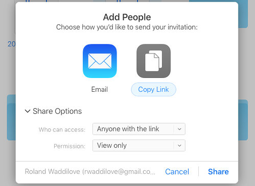 Share a file on the Apple iCloud website