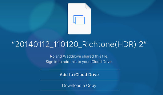 Access a shared file on the iCloud website