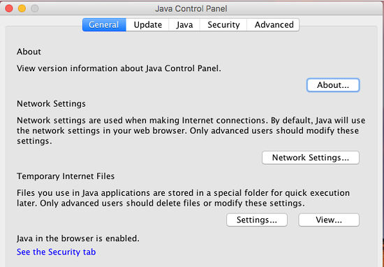 The Java Control Panel for changing the settings and configuration options