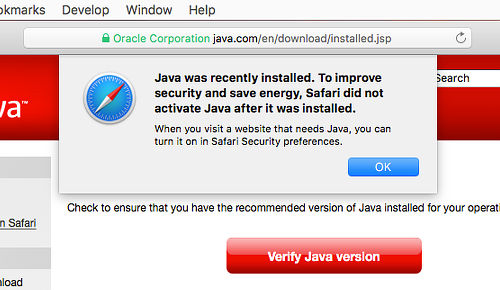 Safari on the Apple Mac does not enable Java by default