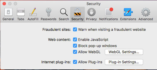 Configure the plug-ins in Safari on the Apple Mac in Preferences