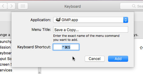 Create a keyboard shortcut in System Preferences on the Apple Mac