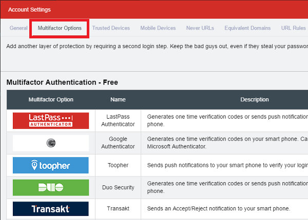 Select the multtifactor authentication type to use at the LastPass website