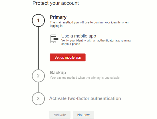 Enable multifactor authentication at the LastPass website