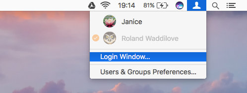 Go to the Login Windows in macOS on the Apple Mac using the menu bar