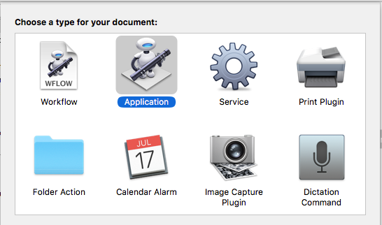 Create a new application with Automator on the Apple Mac