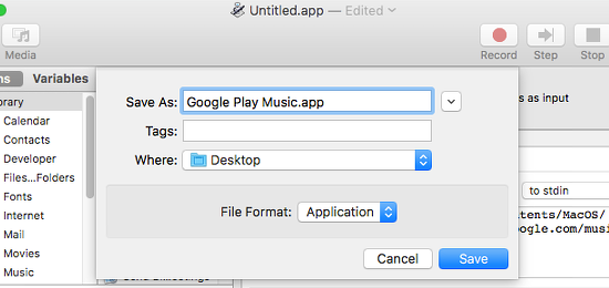 Save an app from Automator on the Apple Mac