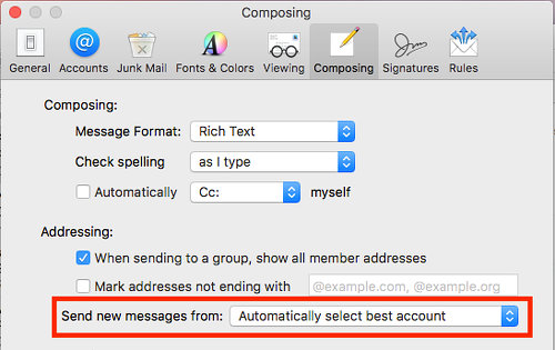 How Mac Mail chooses which account you mail from and how to change