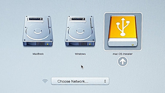 select the startup disk on the Apple Mac