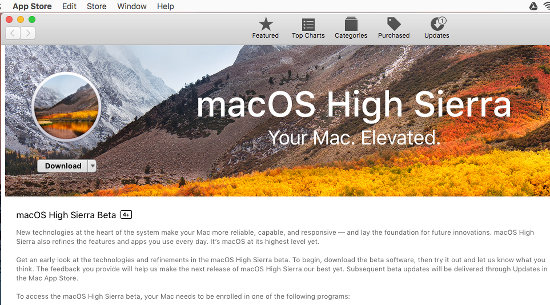 Download macOS High Sierra from the Mac App Store