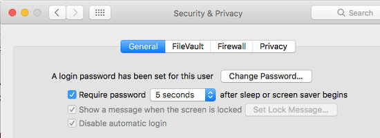 Require a password after a screen saver in System Preferences on the Apple Mac