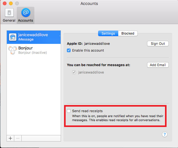 Apple Messages account preferences. Turn read receipts on or off