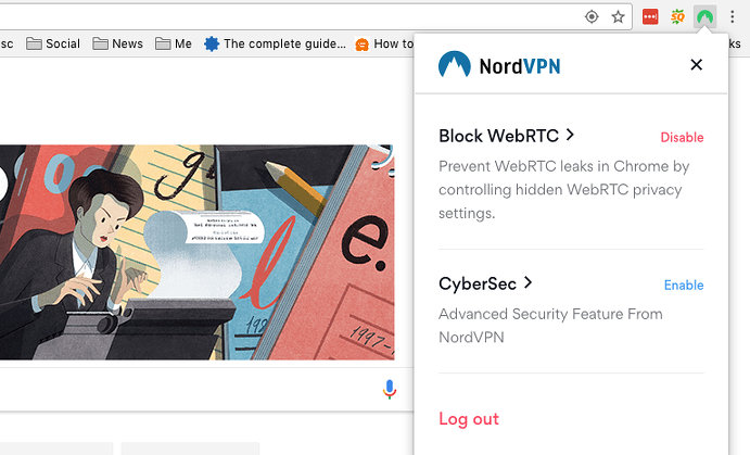 Block WebRTC and use CyberSec in NordVPN Chrome extension