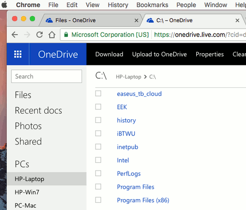 Access files on a PC's disk through OneDrive