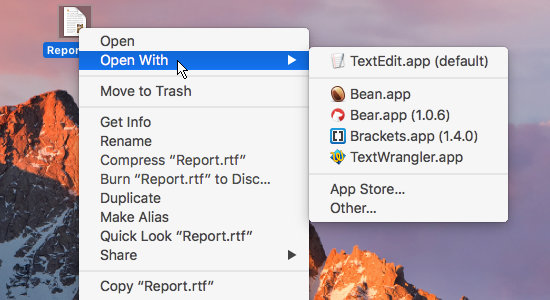 Use Open With to open a file in the application you want using macOS on the Apple Mac