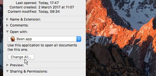 Change the file association on the Apple Mac to whatever app you choose