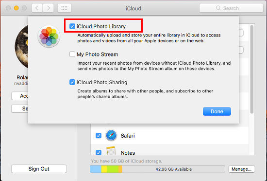 Enable iCloud Photo Library in System Preferences on the Apple Mac