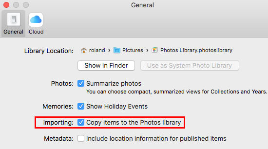 Copy files to the Photos library when importing them on the Mac