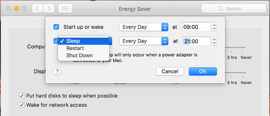 Schedule sleep and wake in macOS on the Apple Mac