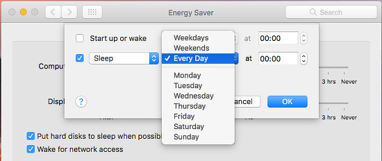 Schedule sleep and wake for the Apple Mac in System Preferences