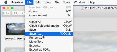 Unhide the Save as command in Preview on the Apple Mac