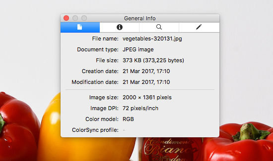 Check the dimensions and file size of a photo using the Preview app on the Apple Mac