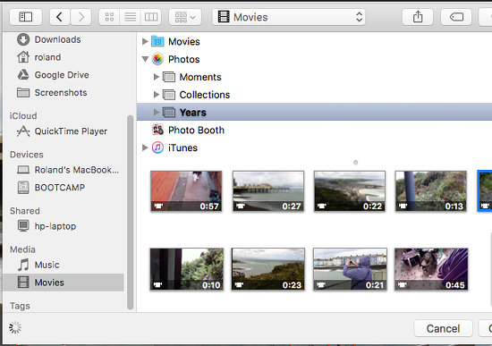 Open a movie from the Photos library in QuickTime on the Apple Mac