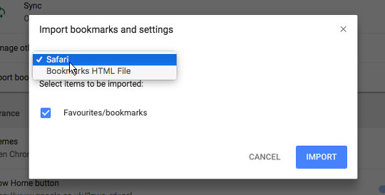 Import bookmarks from Safari into Chrome on the Apple Mac