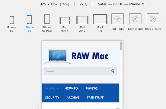 Emulate other devices like the iPhone and iPad in Safari on the Apple Mac