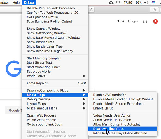 Stop videos automatically playing on web pages using Safari's Debug menu