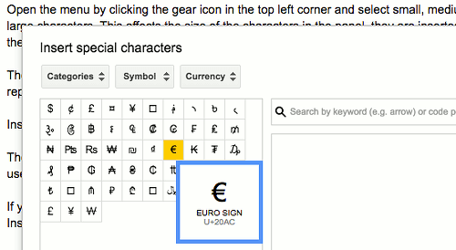 Type special characters into Google Docs documents
