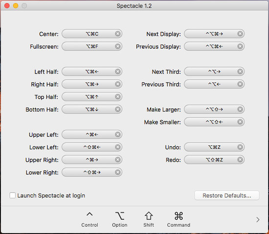 Spectacle app for the Apple Mac showing the keyboard shortcuts to position and size windows on the desktop