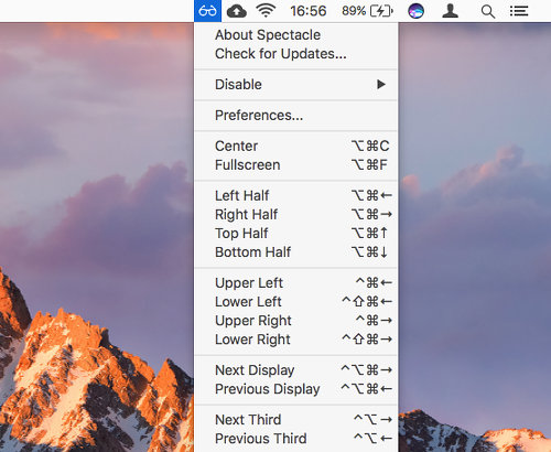 Spectacle app for the Apple Mac showing the menu bar item listing keyboard shortcuts
