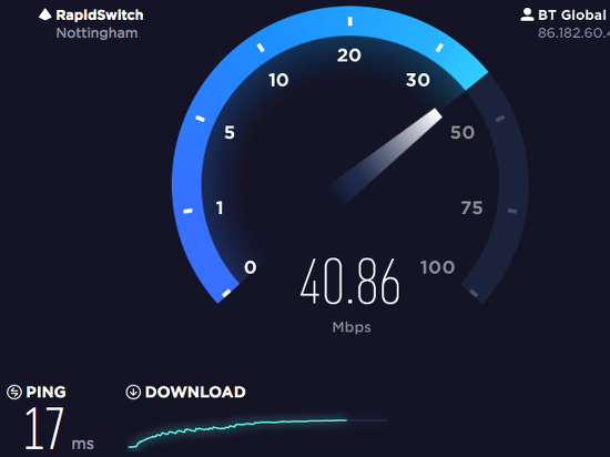 Results of measuring the internet connection speed at speedtest.com