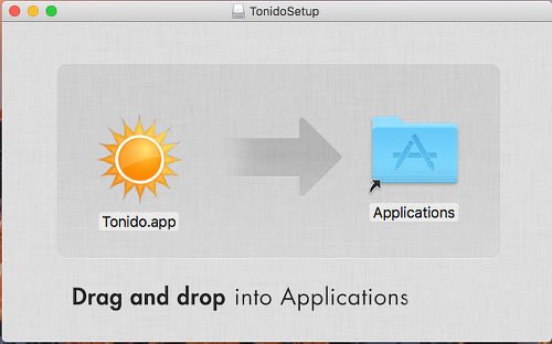 Install Tonido server on the Mac by dragging it to the Applications folder