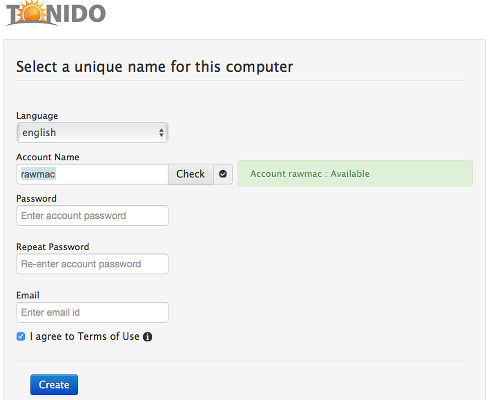 Create an accout for Tonido cloud server