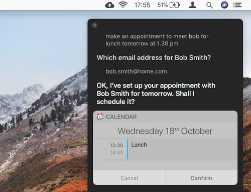 Create a Calendar appointment using Siri on the Apple Mac