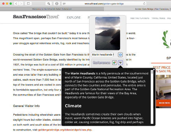 Ultralink safari Extension for the Apple Mac turns text on web pages into clickable hyperlinks